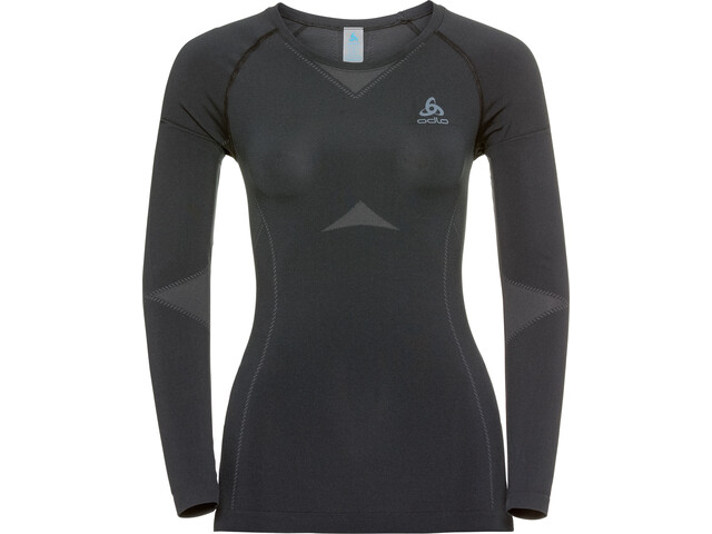 Odlo Performance Light T-shirt Manches longues Col ras-du-cou Femme, black-odlo graphite grey